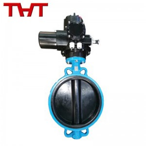 NBR lined wafers end electric butterfly valve factory price