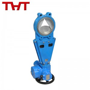 Electric actuated ductile iron V- port knife gate valve