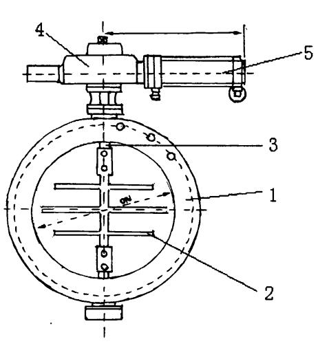 Structure principle of pneumatic inclined plate dust air butterfly valve