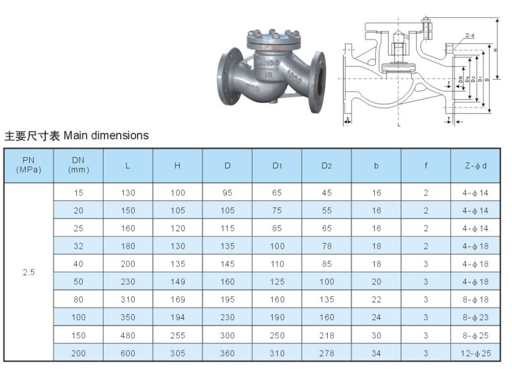 Steel flange lift type check valve
