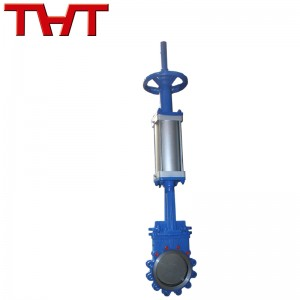 Hand and pneumatic dual operation knife gate valve