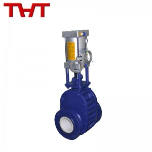 Pneumatic ceremic lined double disc gate valve